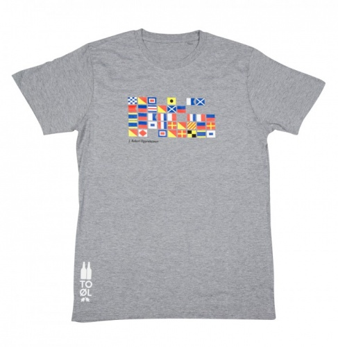 To Øl SMALL - Grey T-Shirt Flags