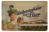 Weihenstephan A4 Metal Sign Lady With Mug